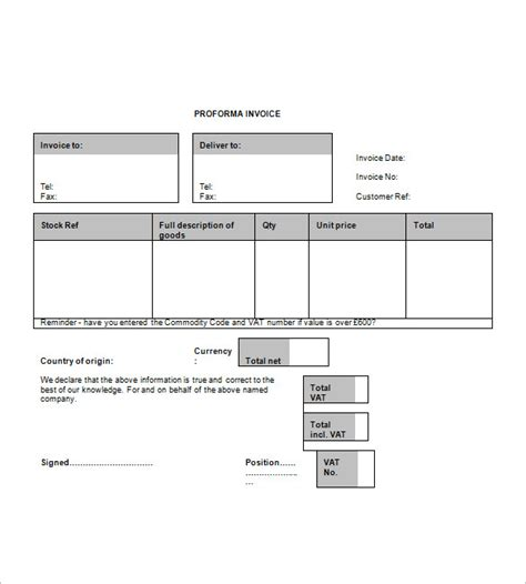 pro forma template word blank proforma invoice hardhost info