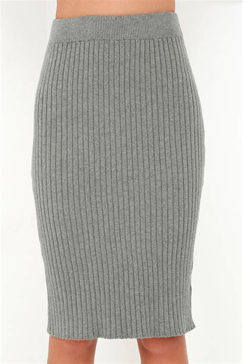 chic grey skirt ribbed knit skirt midi skirt bodycon