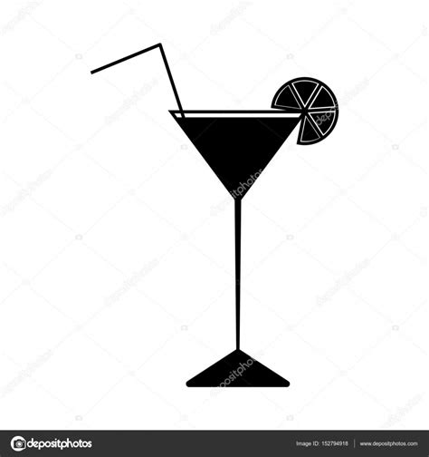 lime slice silhouette black silhouette icon wine glass with cocktail slice of