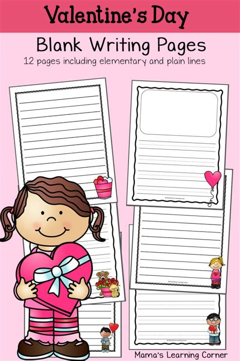 valentines writing s blank writing pages mamas learning corner