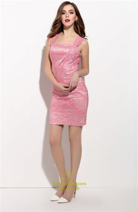 Sleeveless Lace Cocktail Dress pink sleeveless lace sheath cocktail dress with straps