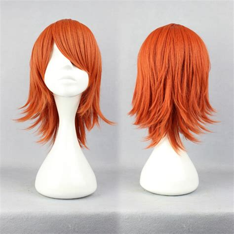 fine hair wigs 35cm short orange cosplay wigs one piece short male hair