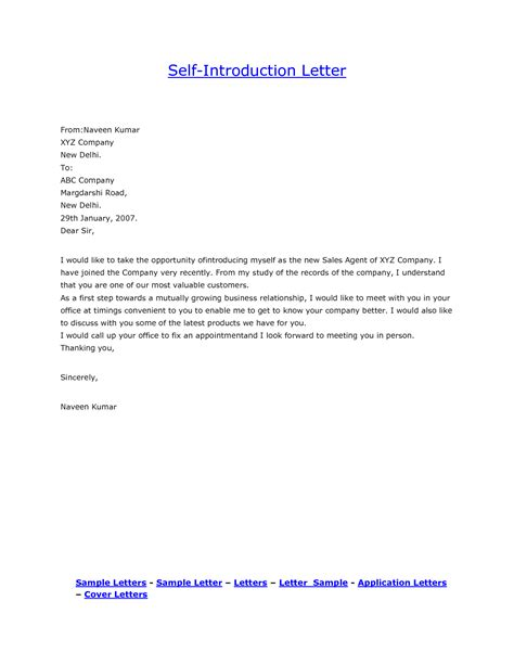 personal introduction letter template sle self how to