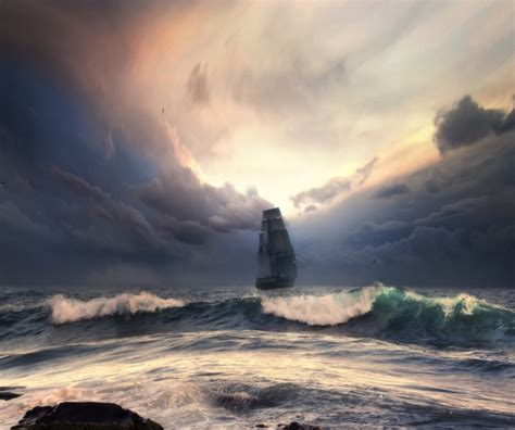 sailboat in storm storm with sailboat huge wave ride the storm boat clouds
