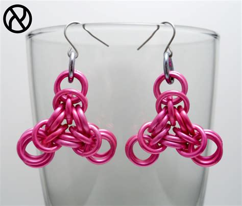 pink triangle chainmaille earrings by zeroignite on deviantart