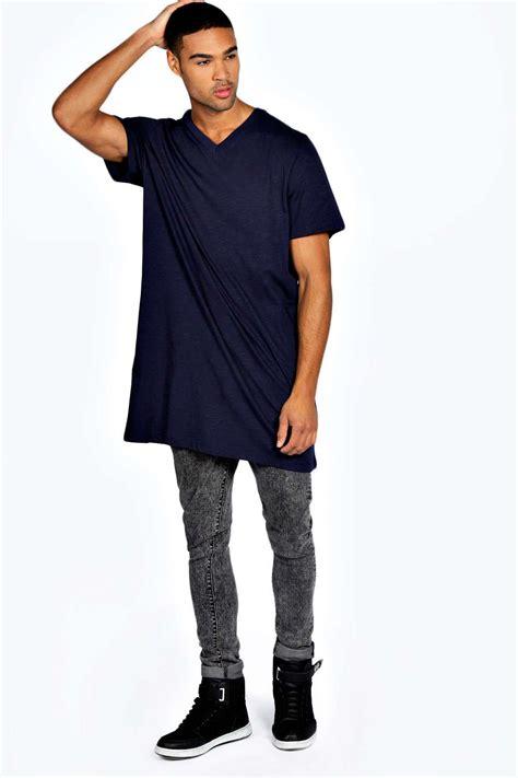 boohoo mens 100 cotton longline sleeve hip length v neck top t shirt ebay