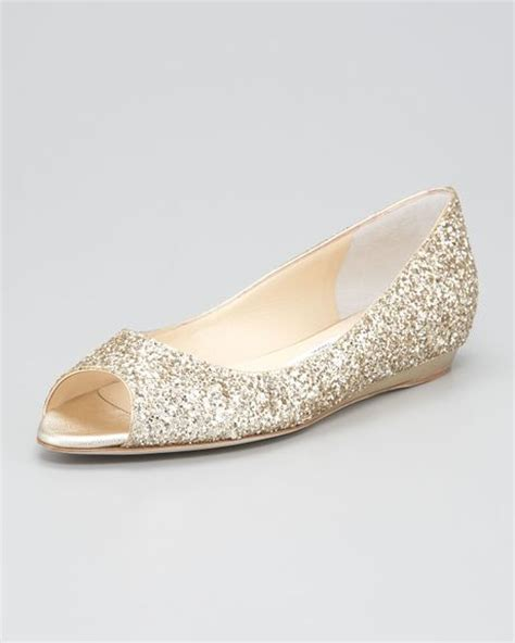 gold peep toe flat shoes jimmy choo beck peep toe flat wedge in gold lyst