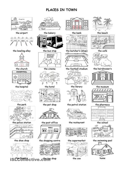 shops in my town worksheet free esl printable worksheets places in town language love pinterest english