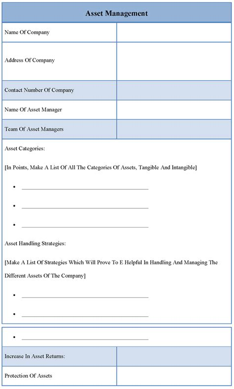 asset template management template for asset sle of asset management