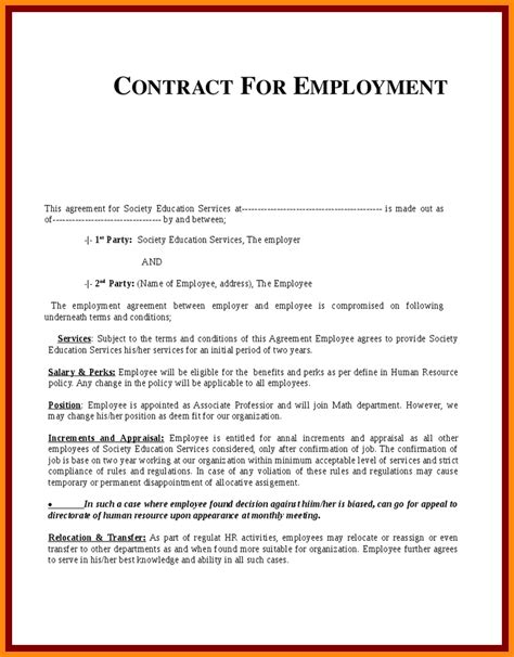 9 exle of employment contract model resumed