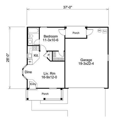 One Bedroom Floor Plans With Garage | 1 bedroom garage apartment floor plans adu sles