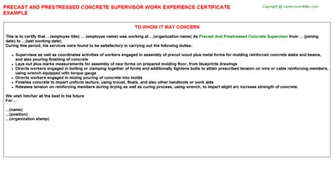 Concrete Supervisor Cover Letter by Precast And Prestressed Concrete Supervisor Title Docs Descriptions And Duties
