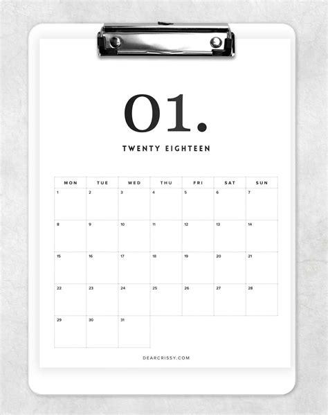 printable calendar 2016 minimalist free 2018 minimal calendar printable modern calendar