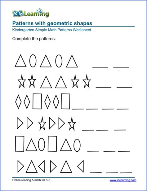 pattern exercises kindergarten free preschool kindergarten pattern worksheets