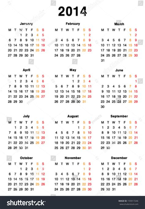 vector calendar 2014 template design blank printable