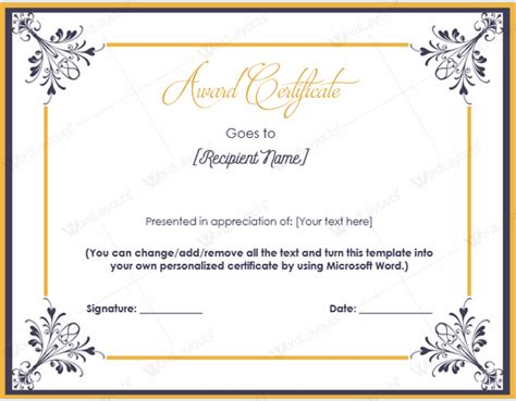 award templates word award certificate 14 word layouts