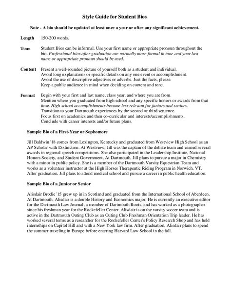 Student Biography Card Template by Sle Student Bio