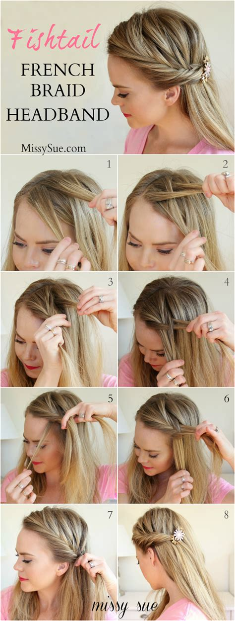 how to do a headband braid step by step braid 4 fishtail french braid headband