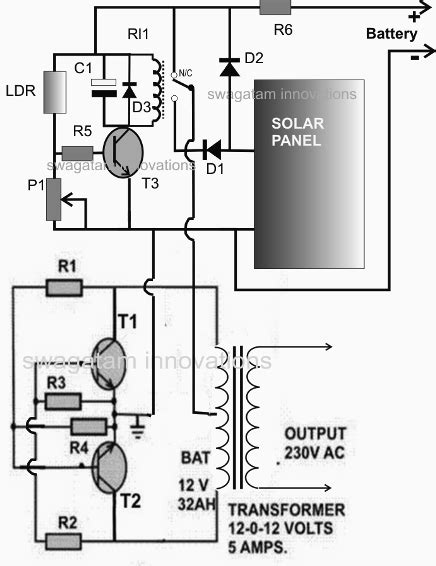 solar inverter battery charger circuit diagram wiring