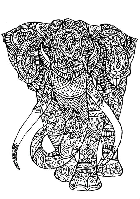complicated elephant coloring pages colouring pages for adults of animals difficult animals