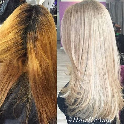 color correction for light brown hair that turned into orange color correction warm and banded to cool blonde career