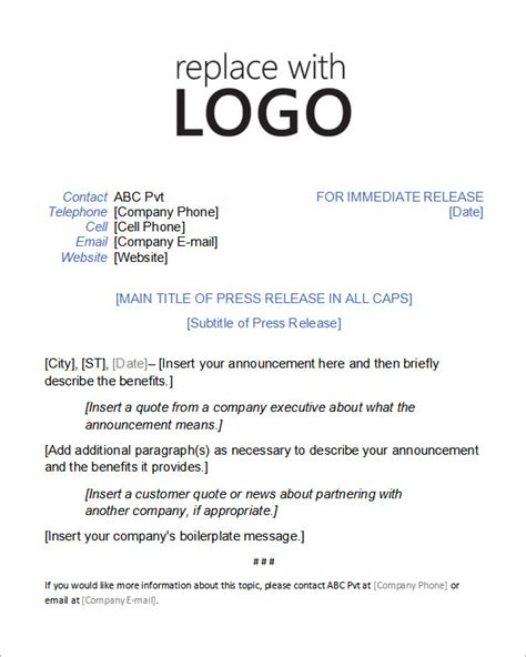press release template sle press release templates 8 free documents