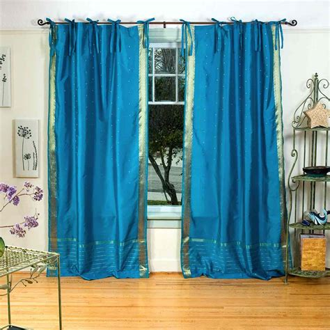 turquoise sheer curtains turquoise tie top sheer sari curtain drape panel
