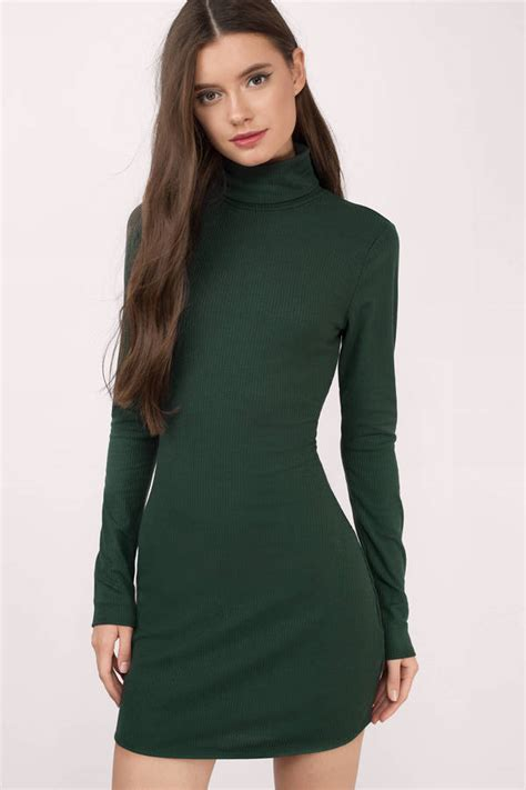 Midi Turtleneck Rajut green sweater dresses sweater tunic