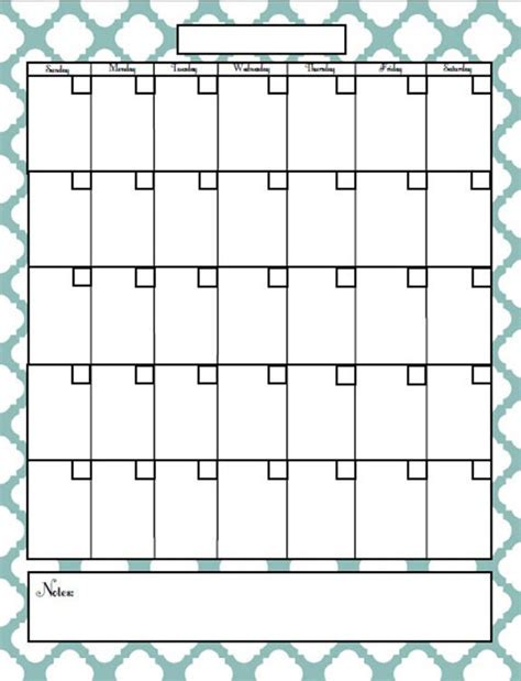 best photos of printable monthly blank calendar page