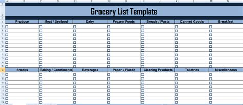 grocery list excel template project management expense tracking template exceltemple