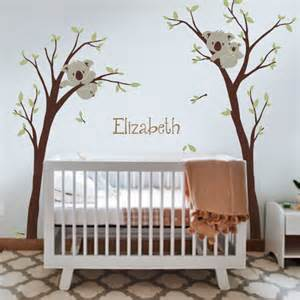 Baby Nursery Tree Wall Decals Baby Nursery Decor Koala Tree And Custom Name Nursery Wall Decal Pinknbluebaby On Artfire