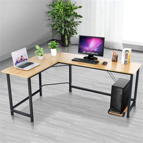study table l new l shaped home office desk corner computer pc laptop