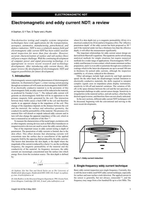 (PDF) Electromagnetic and eddy current NDT: A review