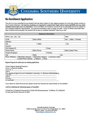 Mba Columbia Southern Human Resources Degree by Columbia Southern Fillable Application Fill