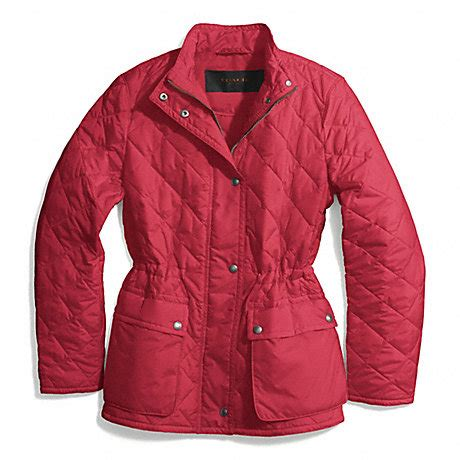 Coach Quilted Jacket Womens by Coach F84993 Quilted Hacking Jacket Loganberry