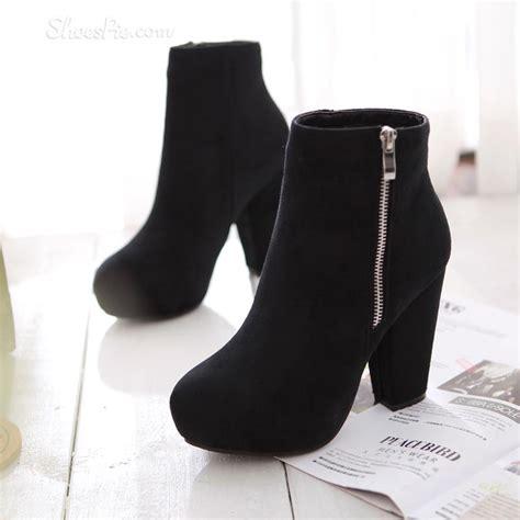 black chunky heel booties fs heel