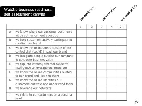 self assessment exle web2 0 business readiness self assessment