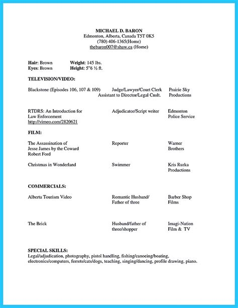 Brilliant Acting Resume Template To Get Inspired Acting Resume Template For Microsoft Word