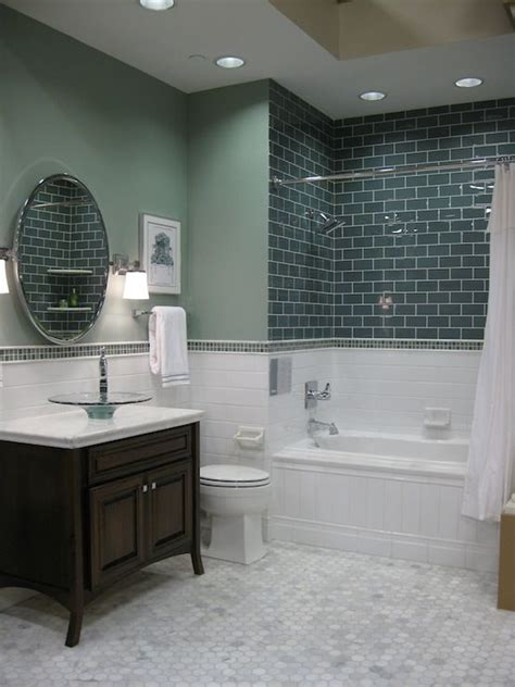 carrara marble tile bathroom ideas spare bathroom reveal hexagons glass vessel and