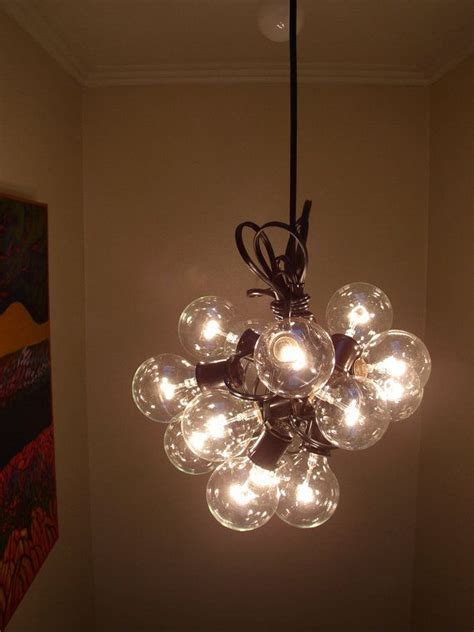15 Light Bulb L Recycled Re Purposed Cluster Bulb Chandelier String Lights