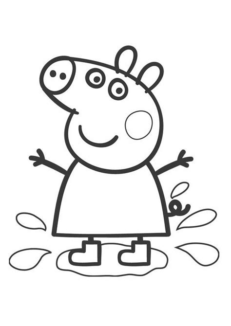 Peppa Pig Muddy Puddles Coloring Pages | peppa pig para colorear pintar e imprimir