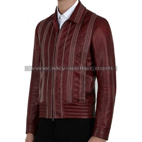 Bomber Jaket Maroon s decorative stitching maroon bomber leather jacket