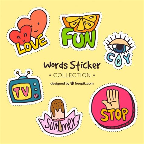 printable word stickers words stickers colection vector free download