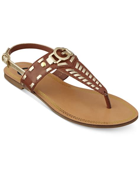 t sandals flat g by guess s t flat sandals in brown