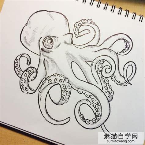 章鱼素描画 章鱼创意手绘 简笔画 素描自学网