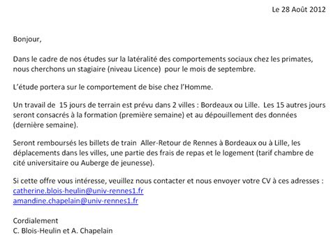 Lettre De Motivation Stage Technicien Laboratoire Lettre De Motivation Stage Laboratoire Biologie Document