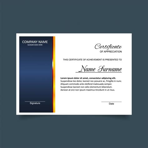 White Sertifikat blue and white certificate of appreciation template vector