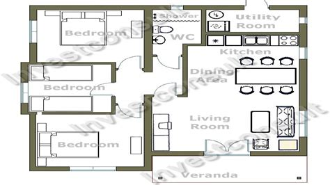 Three Bedroom Cottage House Plan by Small 3 Bedroom House Floor Plans Simple 4 Bedroom House