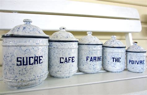 kitchen canisters australia set french enamel canisters sold my french finds