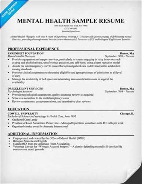Resume Exle For Health Care Worker Mental Health Care Worker Resume Related
